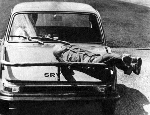This modified ADO16 is one of five cars produced under BLMC's Safety Research Vehicle (SRV) project in 1974. Designated SRV5, the car featured a spring-loaded pedestrian-catching cage which was activated in the event of an impact. Thus, it would be raised from its dormant position atop the front bumper in order to prevent the accident victim from sliding down into the path of the car's wheels. Well, that was the theory, anyway...