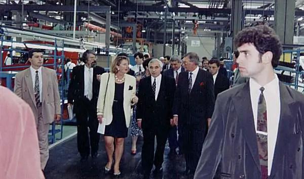 Bulgarian President, Zhelyu Zhelev (centre) opened the plant in September 1995.