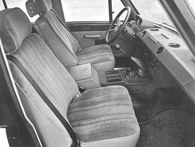 Interior of a 1983 factory four-door version shows that the idea of a Range Rover with bare, utilitarian trim and hose-clean flooring has been consigned to history. This version was sumptuous and deeply carpeted - very similar, in fact, to its contemporary, the SD1 Vanden Plas.