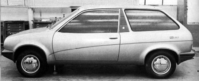 """A little more work on the 'Wedge"""" theme resulted in this, the three door hatchback version of the Triumph TR7. In all seriousness, this Harris Mann creation is rather stylish, although the car's desirability on the marketplace would have been rather dependent on that of the TR7. (The badge on the side of this car reads """"Mini 1300"""")"""