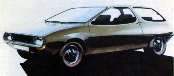 This Harris Mann sketch looks rather better than the full-size models which resulted (see below), providing an intersting parallel with the Allegro's transition from paper to clay. The smoothly-integrated detailing on this car would probably have been too expensive to achieve in production.