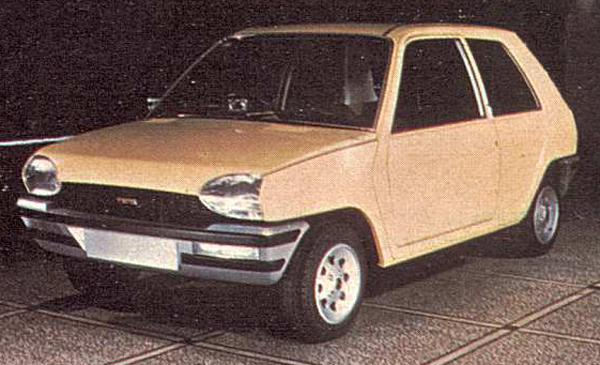 This distinctly Citroën-esque proposal was produced for the ADO88 supermini project in late 1975. It was quickly abandoned because the production costs of this car would have been too high.