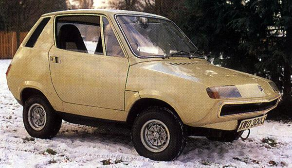 The 1972 Leyland-Crompton electric car prototype, with Michelotti body on Mini underpinnings.