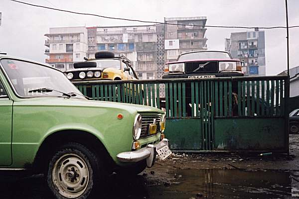 Batumi, in Georgia, with Volvo and Austin up on outdoor ramps
