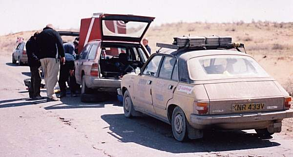 'Angry' the Mercedes receives the mother of all bodges, in the back end of beyond, Uzbekistan, 6th April