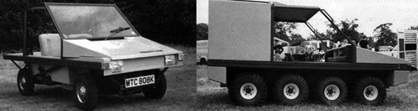 The back-to-basics Hellcat was just about as sparse as a car could be while still justifying the description. The eight-wheeled amphibious Hustler, pictured right, clearly betrays its Crayford Argocat origins