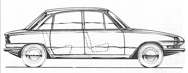 "Michelotti's sketch of Barb indeed shows many similarities with the earlier proposal, but translated into a four-door, six-light scheme. The first full-sized model of the car produced by Michelotti looked remarkably similar to this rapidly produced sketch. The tail was lengthened, and a ""peak"" was added over the rear window (by Standard-Triumph) at the insistence of Harry Webster."