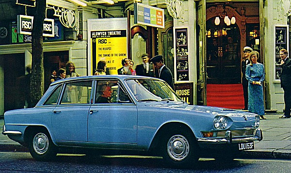 Triumph 2000 poses outside London's Aldwych Theatre (picture kindly supplied by Graham Arnold)