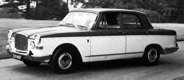 "This is the prototype for the 4-litre R model which followed in 1964. While looking similar to 3-litre car on which it was based, it differed in a number of areas. The most obvious differences were the revised rear styling and the fog lamps mounted in the front panel, in place of the 3-litre's circular grilles (and if imitation is the sincerest form of flattery, then Vanden Plas must have found the Volvo 164 of 1968 very flattering indeed). Less noticeably, the car also gained a new, longer roof panel which, combined with the revised positioning of the rear seat, liberated an extra 3 inches of legroom for back seat passengers. The ""R"" was a reference to this car's Rolls-Royce FB60 engine, which had been developed by Rolls-Royce from their B-series military engine, and became available to BMC as part of the doomed collaborative venture."