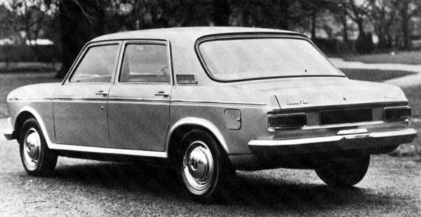 Rear view of the later car shows it to be virtually standard Austin X6 at the back - apart from the Vanden Plas script on the bootlid.