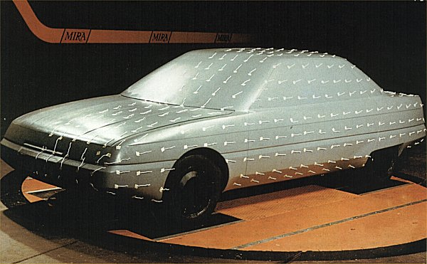 ...and so it proved at MIRA's wind tunnel, where a potential drag co-efficient of 0.27 achieved. Across Europe, competing manufacturers were coming up with similar solutions (look at the 1982 Audi 100).