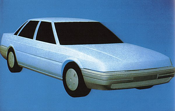 """When the original DEV1 scheme (above) was dropped, a move to more conventional proportions and width was sought. This computer scheme of the DEV2 model shows just how CAD/CAM played a role in the development of the Rover 800. And to scotch all those """"unequal length sides"""" stories, it should be stated that the the 800 was the first Rover to have its bodyshell checked by laser cameras - 93 key dimensions digitised, to fractions of a millimetre. If you look at the massive jigs used to weld up panels, there's absolutely no way you can get variations of more than a millimetre or so, unless the jig is wrong to start with - and that's unlikely to go unnoticed, as the first cars off tools are always scrutinised the hardest. Models from the 800 onwards had mono-sides anyway, so again , it's almost impossible to introduce length variation even if you wanted to."""