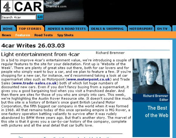 Groundbreaking 4Car website will be missed...