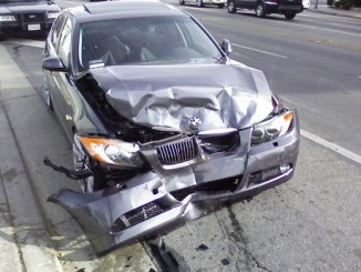A crashed BMW