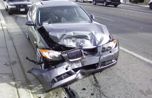 A crashed BMW