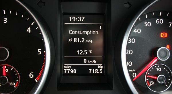 Over 80mpg is possible when you're gentle in a VW Golf Bluemotion