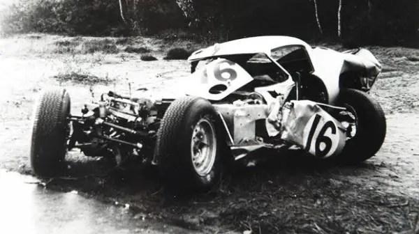 The Lindner Nocker Jaguar E-type Low Drag Lighteight after the crash in 1964.