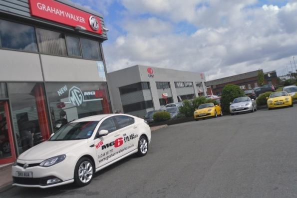 Graham Walker Limited's MG6 GT SE Demonstrator outside the company's Chester premises