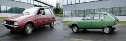 (Left) Projet Y: first supermini effort. (Right) Projet TA: replacement was powered by 2CV and GS engines.