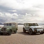 Land Rover DC100 next to series Land Rover