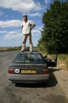 Andrew looks for potential scrap cars from the best vantage point...
