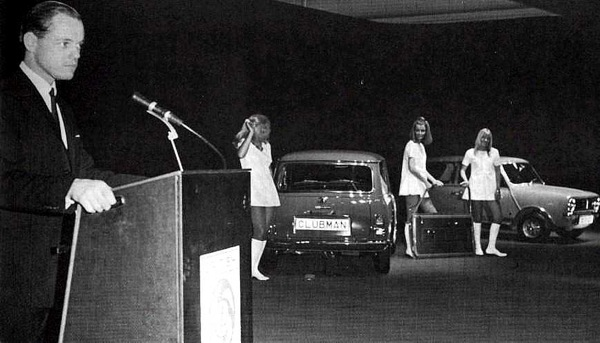 BLMC marketing man Tony Ham announces the Mini Clubman at Longbridge. But what was the date?