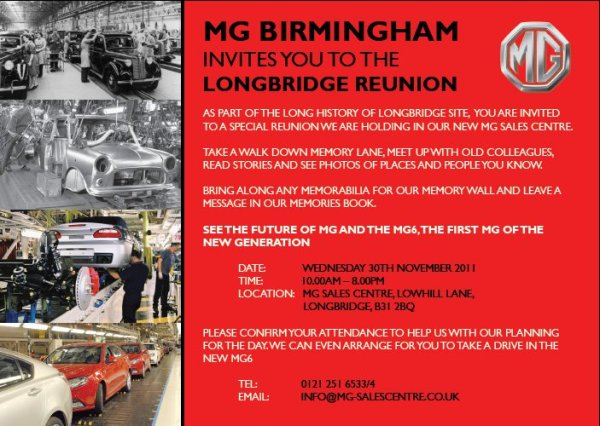 Longbridge reunion on 30 November - and you're invited