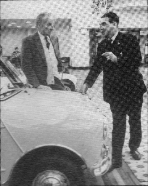 Alec Issigonis and John Cooper at the launch of the Mini-Cooper