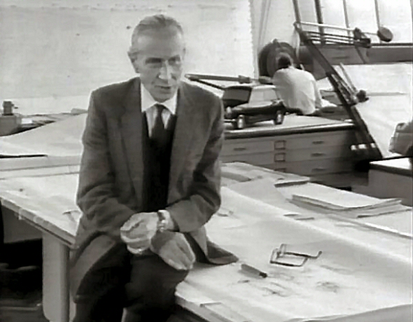 Alec Issigonis at the opening of the 'Elephant House'