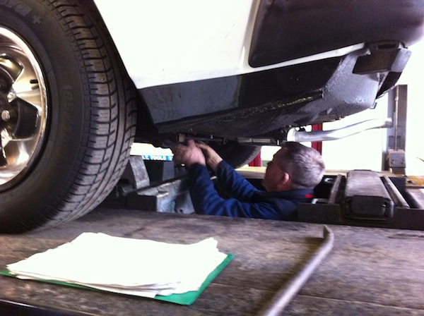 Adrian Fell gives the SD1's  underside  his full attention