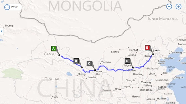 Our route over four days - it's nothing compared with what the expedition's done in 49...