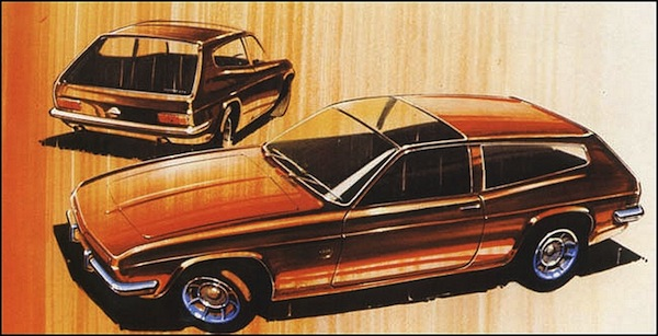 Styling sketch from 1967 shows the rising window line and panoramic roof window, which only made it onto the 1968 Ogle concept.