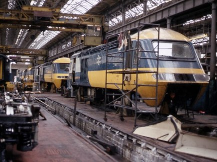 Crewe Works 1984 - The HST required exacting maintenance with some sets operating in excess of 1000 miles a day!
