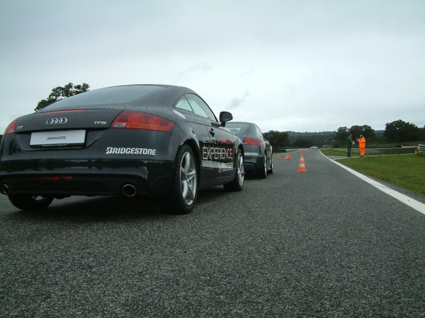 Ready for the off! - The wet slalom test with the Quattro TT.