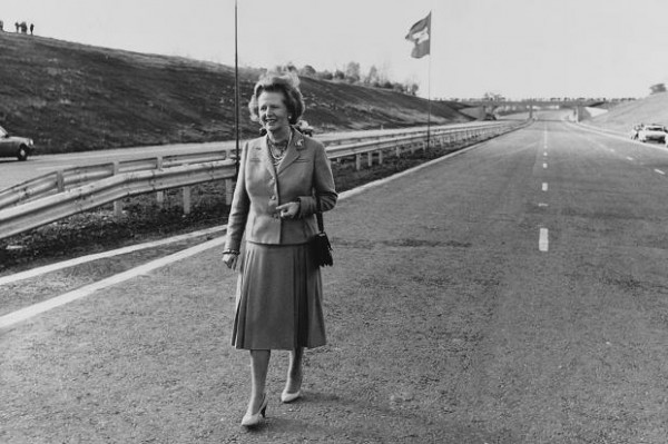 Margaret Thatcher at the opening of the M25 in 1986