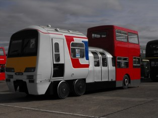 This retired London DMS fleetline was converted to feature bus - LT tube stock and Network South East 321 train as part of an integrated ticketing campaign for London Transport - and it drives too!
