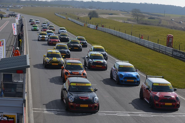 The grid for Round 2 of the 2013 MINI Challenge at Snetterton last weekend