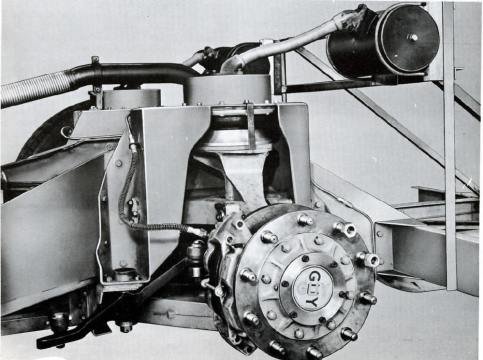 Factory image of independant suspension and disc brake assembly.