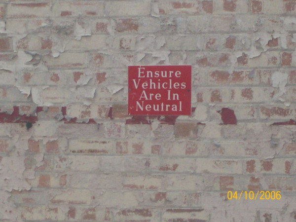 A reminder of different times on the remaining part of an interior wall.