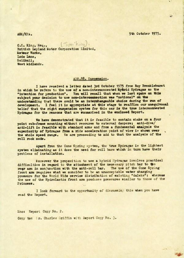 ADO88 Letter AEM to CSK 09.10.1975