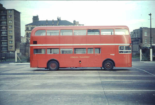 "The experimental FRM was a front entrance rear engined version of the Routemaster. LT dropped the idea in favour of ""off the peg"" rear engined buses from British Leyland and MCW."