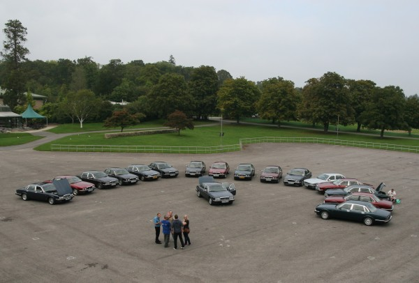 Together at last... XJ40s converge on Beaulieu.