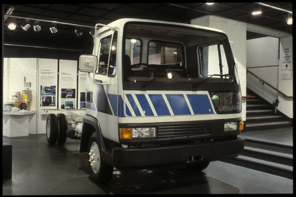 The 1984 Leyland Roadrunner seen on display at a Design Council Award display.