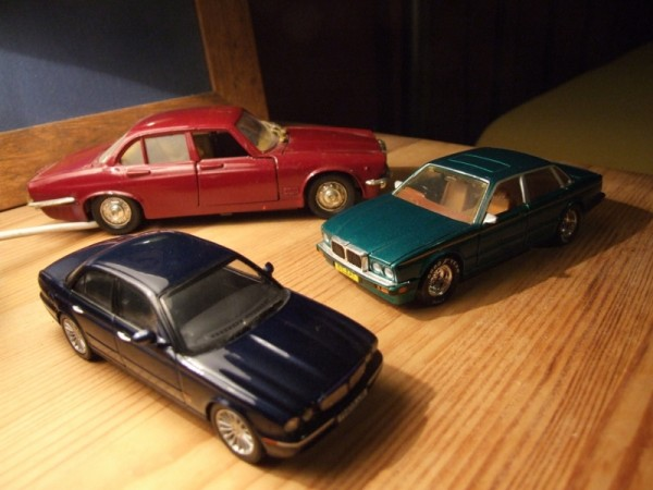 Finally, a selection of Jaguar XJ6s... The red one is a Polistil model dating from the late Seventies and I remember begging my mum for 50p to buy it at a car boot sale circa 1985. The green one is an early '90s Matchbox special edition, and is quite rare today - another Christmas present, though I think I was about 13 or 14 at the time hence why it's relatively unplayed with. The blue one's obviously much more recent, and was a gift from a friend who knows I have a soft spot for X350s (Note to self: buy real one next year ;-))