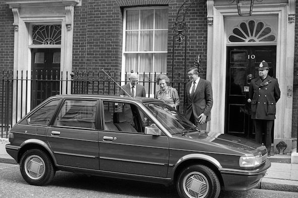 Mrs Thatcher inspects a rather plush Maestro - just the thing for ministerial transport?