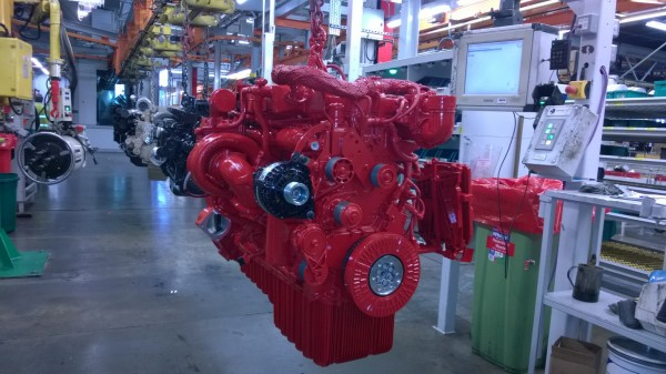 An ISB engine is de-masked after painting and then it's off to join the other 1.5 million engines produced at Darlington