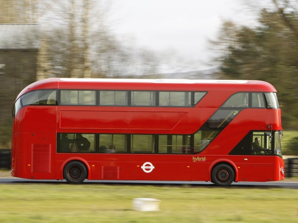 Cummins are at the forefront of modern technology. This Wright NBFL seen here being put through its paces on a proving track, is a full hybrid and features a 4.5 litre Cummins ISB tucked away behind the rear staircase - Image: TFL