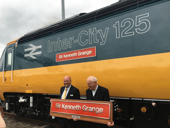 The oldest power car, and still in daily use received a special retro Inter City wrap livery and was named in the honour of Sir Kenneth Grange. A replica name plate is handed to Ken from GWR engineering director Andy Mellors.