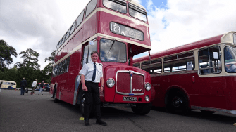 Vauxhall's Communications Director Denis Chick with his 1966 AEC Regent