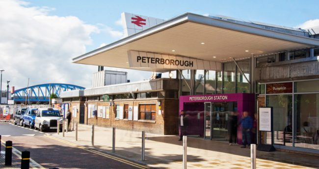 Peterborough. The usual throng of people and taxis was replaced by mass confusion and a very long queue of buses and coaches for well over a week.